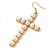 Large Faux Pearl Cross Pendant With 74cm L/ 6cm Ext Gold Tone Chain & Drop Earrings - - view 6