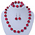 Fuchsia Ceramic Bead Necklace, Flex Bracelet & Drop Earrings In Silver Tone - 42cm L/ 5cm Ext