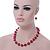 Fuchsia Ceramic Bead Necklace, Flex Bracelet & Drop Earrings In Silver Tone - 42cm L/ 5cm Ext - view 3
