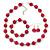 Fuchsia Ceramic Bead Necklace, Flex Bracelet & Drop Earrings In Silver Tone - 42cm L/ 5cm Ext - view 2