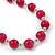 Fuchsia Ceramic Bead Necklace, Flex Bracelet & Drop Earrings In Silver Tone - 42cm L/ 5cm Ext - view 11