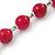 Fuchsia Ceramic Bead Necklace, Flex Bracelet & Drop Earrings In Silver Tone - 42cm L/ 5cm Ext - view 8