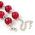 Fuchsia Ceramic Bead Necklace, Flex Bracelet & Drop Earrings In Silver Tone - 42cm L/ 5cm Ext - view 5