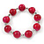 Fuchsia Ceramic Bead Necklace, Flex Bracelet & Drop Earrings In Silver Tone - 42cm L/ 5cm Ext - view 6