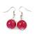 Fuchsia Ceramic Bead Necklace, Flex Bracelet & Drop Earrings In Silver Tone - 42cm L/ 5cm Ext - view 10