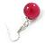 Fuchsia Ceramic Bead Necklace, Flex Bracelet & Drop Earrings In Silver Tone - 42cm L/ 5cm Ext - view 12