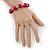 Fuchsia Ceramic Bead Necklace, Flex Bracelet & Drop Earrings In Silver Tone - 42cm L/ 5cm Ext - view 4