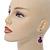 Violet Purple Marble Colour Ceramic Bead Necklace, Flex Bracelet & Drop Earrings Set In Silver Tone - 40cm L/ 5cm Ext - view 2