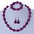 Violet Purple Marble Colour Ceramic Bead Necklace, Flex Bracelet & Drop Earrings Set In Silver Tone - 40cm L/ 5cm Ext - view 3