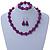 Violet Purple Marble Colour Ceramic Bead Necklace, Flex Bracelet & Drop Earrings Set In Silver Tone - 40cm L/ 5cm Ext - view 8