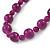 Violet Purple Marble Colour Ceramic Bead Necklace, Flex Bracelet & Drop Earrings Set In Silver Tone - 40cm L/ 5cm Ext - view 5
