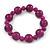 Violet Purple Marble Colour Ceramic Bead Necklace, Flex Bracelet & Drop Earrings Set In Silver Tone - 40cm L/ 5cm Ext - view 7