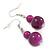 Violet Purple Marble Colour Ceramic Bead Necklace, Flex Bracelet & Drop Earrings Set In Silver Tone - 40cm L/ 5cm Ext - view 10