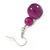 Violet Purple Marble Colour Ceramic Bead Necklace, Flex Bracelet & Drop Earrings Set In Silver Tone - 40cm L/ 5cm Ext - view 6