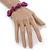 Violet Purple Marble Colour Ceramic Bead Necklace, Flex Bracelet & Drop Earrings Set In Silver Tone - 40cm L/ 5cm Ext - view 4