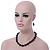 Black, Grey Marble Colour Ceramic Bead Necklace, Flex Bracelet & Drop Earrings Set In Silver Tone - 40cm Length/ 5cm Extension - view 9