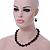 Black, Grey Marble Colour Ceramic Bead Necklace, Flex Bracelet & Drop Earrings Set In Silver Tone - 40cm Length/ 5cm Extension - view 3