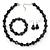 Black, Grey Marble Colour Ceramic Bead Necklace, Flex Bracelet & Drop Earrings Set In Silver Tone - 40cm Length/ 5cm Extension - view 2