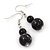 Black, Grey Marble Colour Ceramic Bead Necklace, Flex Bracelet & Drop Earrings Set In Silver Tone - 40cm Length/ 5cm Extension - view 12