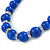 Blue Ceramic Bead Necklace, Flex Bracelet & Drop Earrings With Crystal Ring Set In Silver Tone - 44cm Length/ 6cm Extension - view 3