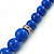 Blue Ceramic Bead Necklace, Flex Bracelet & Drop Earrings With Crystal Ring Set In Silver Tone - 44cm Length/ 6cm Extension - view 8