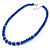 Blue Ceramic Bead Necklace, Flex Bracelet & Drop Earrings With Crystal Ring Set In Silver Tone - 44cm Length/ 6cm Extension - view 9