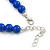 Blue Ceramic Bead Necklace, Flex Bracelet & Drop Earrings With Crystal Ring Set In Silver Tone - 44cm Length/ 6cm Extension - view 5