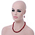 Dark Red Ceramic Bead Necklace, Flex Bracelet & Drop Earrings With Crystal Ring Set In Silver Tone - 44cm Length/ 6cm Extension - view 11
