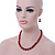 Dark Red Ceramic Bead Necklace, Flex Bracelet & Drop Earrings With Crystal Ring Set In Silver Tone - 44cm Length/ 6cm Extension - view 3