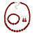 Dark Red Ceramic Bead Necklace, Flex Bracelet & Drop Earrings With Crystal Ring Set In Silver Tone - 44cm Length/ 6cm Extension - view 2