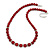 Dark Red Ceramic Bead Necklace, Flex Bracelet & Drop Earrings With Crystal Ring Set In Silver Tone - 44cm Length/ 6cm Extension - view 5