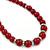 Dark Red Ceramic Bead Necklace, Flex Bracelet & Drop Earrings With Crystal Ring Set In Silver Tone - 44cm Length/ 6cm Extension - view 10