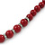 Dark Red Ceramic Bead Necklace, Flex Bracelet & Drop Earrings With Crystal Ring Set In Silver Tone - 44cm Length/ 6cm Extension - view 12