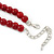 Dark Red Ceramic Bead Necklace, Flex Bracelet & Drop Earrings With Crystal Ring Set In Silver Tone - 44cm Length/ 6cm Extension - view 6