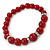 Dark Red Ceramic Bead Necklace, Flex Bracelet & Drop Earrings With Crystal Ring Set In Silver Tone - 44cm Length/ 6cm Extension - view 9