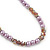 Pink/ Lilac Glass Bead With Crystal Rings Necklace, Flex Bracelet & Drop Earrings Set In Silver Tone - 44cm L/ 5cm Ext - view 12