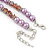 Pink/ Lilac Glass Bead With Crystal Rings Necklace, Flex Bracelet & Drop Earrings Set In Silver Tone - 44cm L/ 5cm Ext - view 6