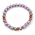 Pink/ Lilac Glass Bead With Crystal Rings Necklace, Flex Bracelet & Drop Earrings Set In Silver Tone - 44cm L/ 5cm Ext - view 7