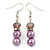 Pink/ Lilac Glass Bead With Crystal Rings Necklace, Flex Bracelet & Drop Earrings Set In Silver Tone - 44cm L/ 5cm Ext - view 8
