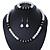 Classic 9mm Glass Pearl, Black Crystal Bead Necklace, Flex Bracelet & Drop Earrings Set - 42cm Length/ 4cm Extension - view 11