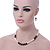 Classic 9mm Glass Pearl, Black Crystal Bead Necklace, Flex Bracelet & Drop Earrings Set - 42cm Length/ 4cm Extension - view 3