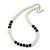 Classic 9mm Glass Pearl, Black Crystal Bead Necklace, Flex Bracelet & Drop Earrings Set - 42cm Length/ 4cm Extension - view 7