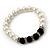 Classic 9mm Glass Pearl, Black Crystal Bead Necklace, Flex Bracelet & Drop Earrings Set - 42cm Length/ 4cm Extension - view 12