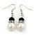 Classic 9mm Glass Pearl, Black Crystal Bead Necklace, Flex Bracelet & Drop Earrings Set - 42cm Length/ 4cm Extension - view 13
