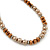Light Brown/ Topaz Glass Bead With Crystal Rings Necklace, Flex Bracelet & Drop Earrings Set In Silver Tone - 44cm L/ 5cm Ext - view 12