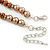 Light Brown/ Topaz Glass Bead With Crystal Rings Necklace, Flex Bracelet & Drop Earrings Set In Silver Tone - 44cm L/ 5cm Ext - view 6