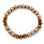 Light Brown/ Topaz Glass Bead With Crystal Rings Necklace, Flex Bracelet & Drop Earrings Set In Silver Tone - 44cm L/ 5cm Ext - view 7