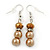 Light Brown/ Topaz Glass Bead With Crystal Rings Necklace, Flex Bracelet & Drop Earrings Set In Silver Tone - 44cm L/ 5cm Ext - view 8