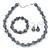 Light Grey Marble Colour Ceramic Bead Necklace, Flex Bracelet & Drop Earrings Set In Silver Tone - 40cm Length/ 5cm Extension - view 2
