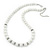 White Ceramic Bead Necklace, Flex Bracelet & Drop Earrings With Crystal Ring Set In Silver Tone - 44cm Length/ 6cm Extension - view 6